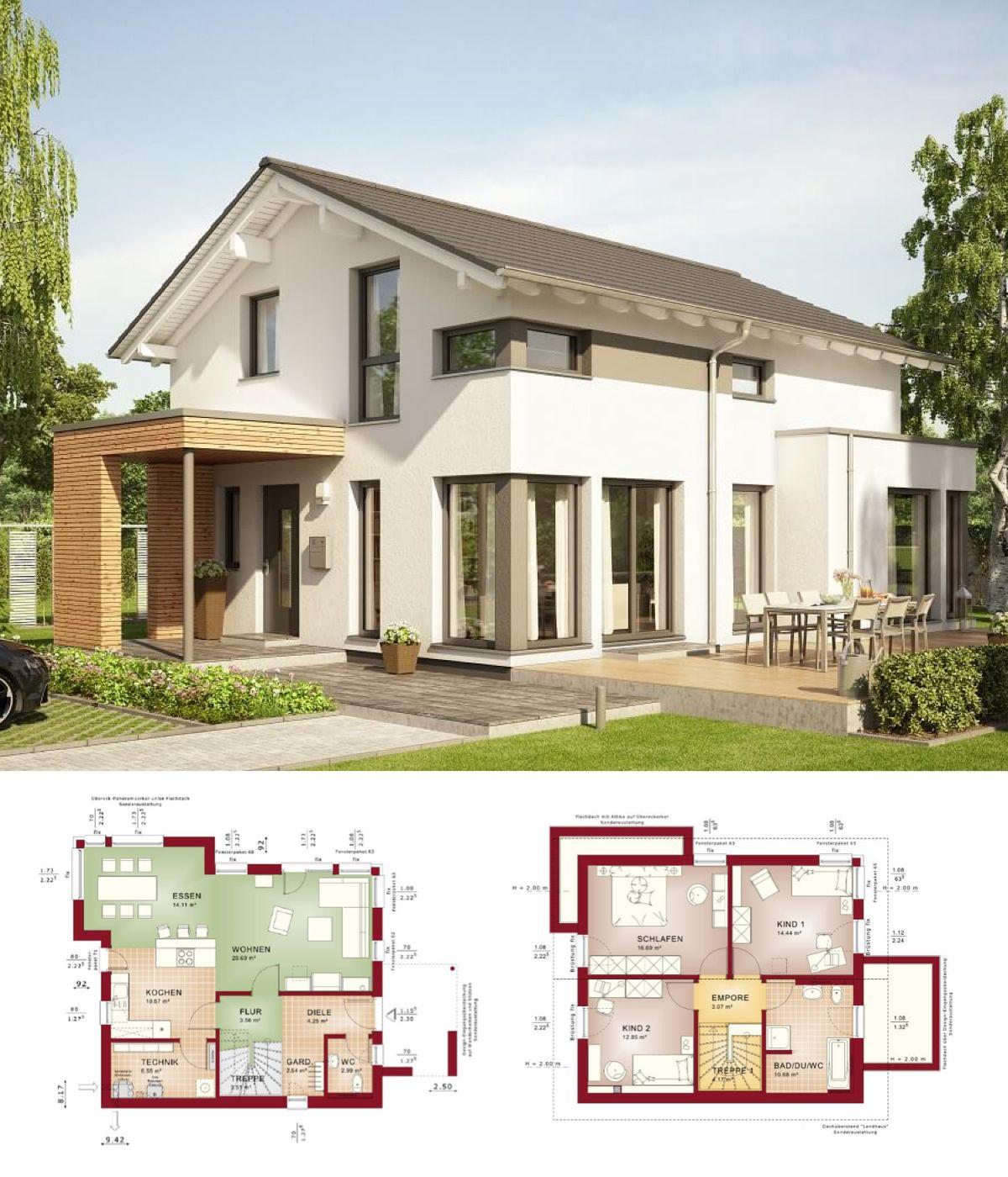 EINFAMILIENHAUS Modern   Haus Edition 1 V3 Bien Zenker   Fertighaus Bauen  Satteldach Grundriss Offen Küche