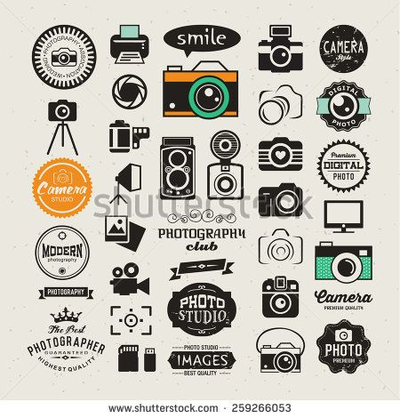 Photography vintage retro icons, badges and labels set. Vector ...