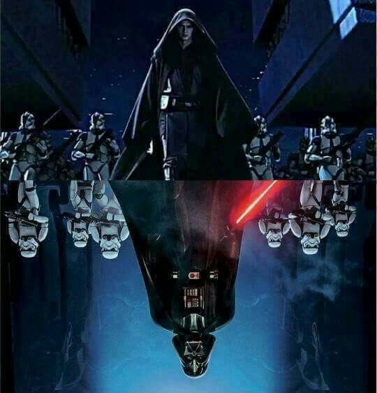 Anakin Skywalker with Clone Stormtroopers and Darth Vader with First Order Stormtroopers | Artist and Publication unknown please send credits info to Optimystique1
