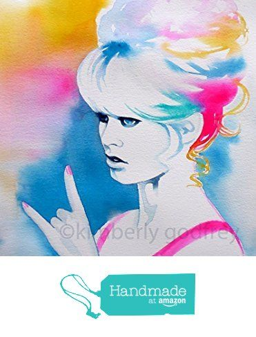 'Brigitte Rocks' Fashion Illustration Original Watercolour Painting Portrait Pink Teal Colorful Salon Decor Bright Colors from Kimberly Godfrey http://www.amazon.com/dp/B017BVNXQI/ref=hnd_sw_r_pi_dp_2jLXwb10RQAWY #handmadeatamazon