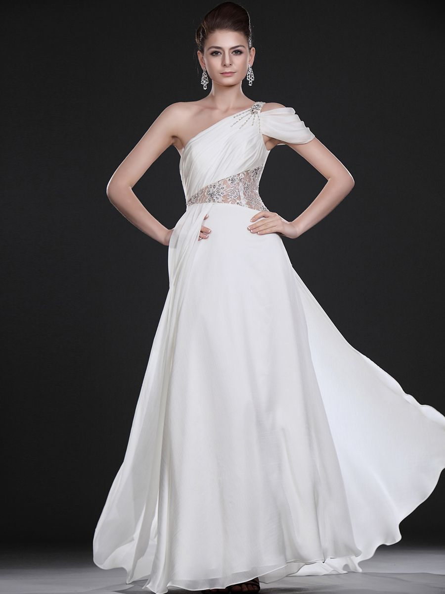 Goddess style one shoulder satin chiffon wedding dress features