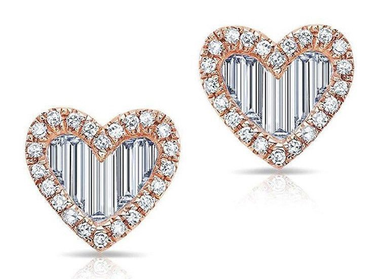 Heart halo Solitaire Studs Earrings Valentines Day 925