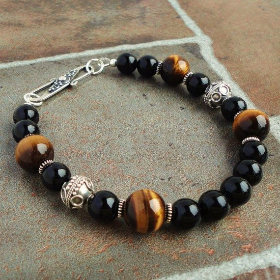 Black Onyx Brown Tiger Eye Mens Bracelet Bali Sterling Silver Beaded For Men Guys Dad Him Jewelry