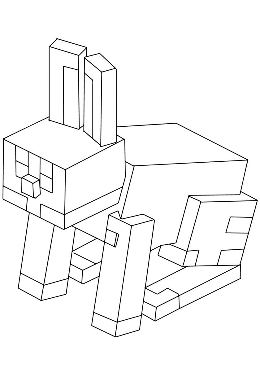 Rabbit High Quality Free Coloring From The Category Minecraft More Printable Pictures On Our We Minecraft Coloring Pages Coloring Pages Star Coloring Pages