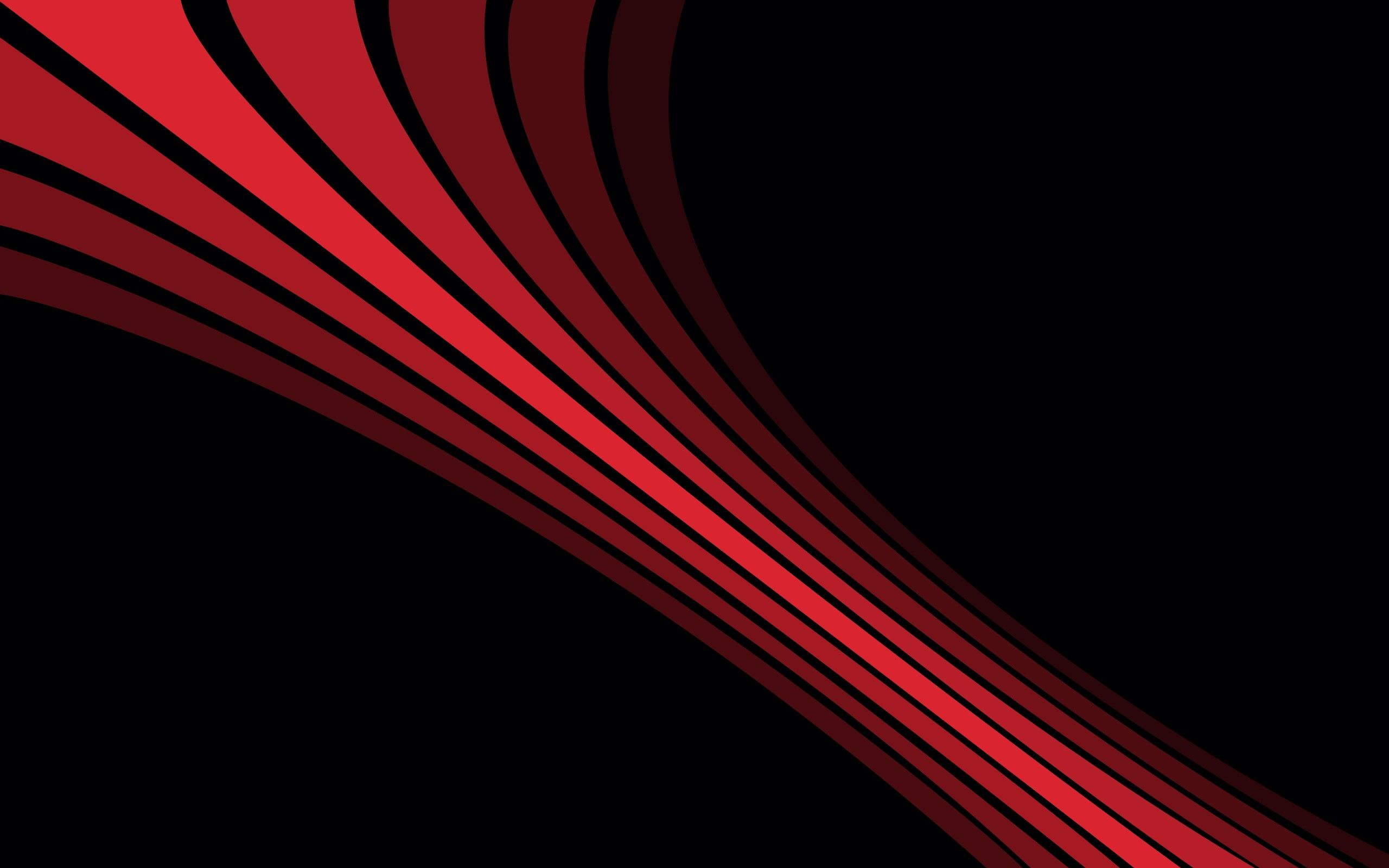 Black Background Red Lines Simple Background Abstract