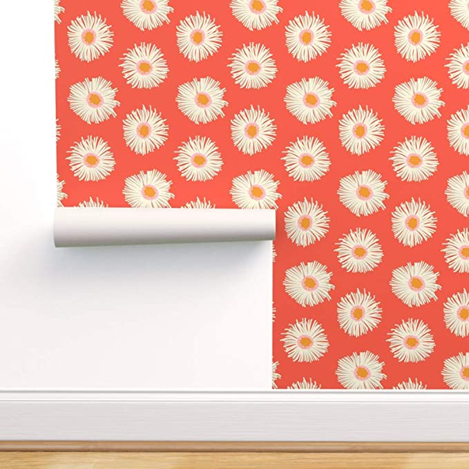 Spoonflower Peel And Stick Removable Wallpaper Daisies Daisy Floral Retro Vintage Flowers 19 In 2021 Self Adhesive Wallpaper Removable Wallpaper Spoonflower Wallpaper