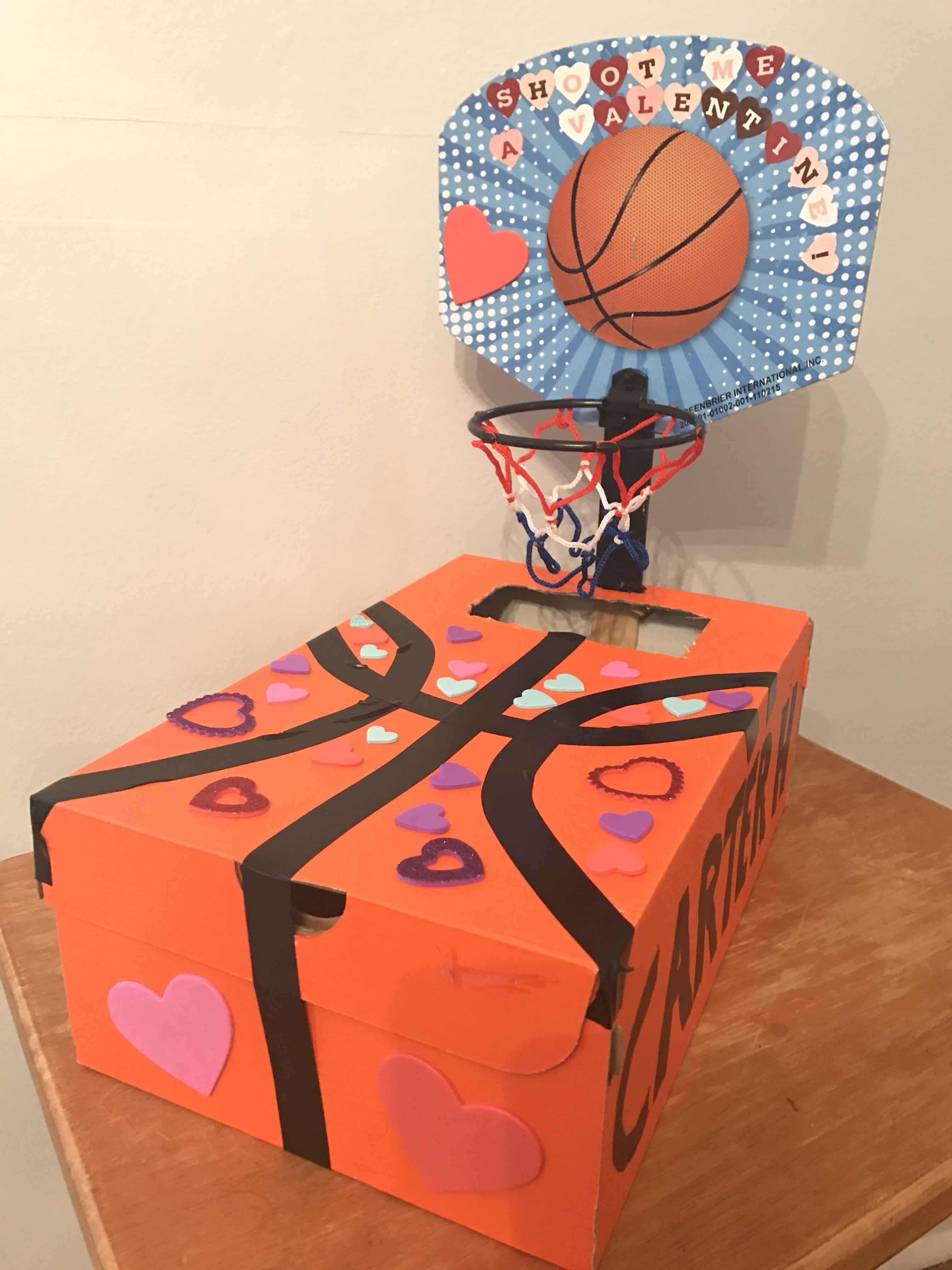 Basketball Valentine S Day Box Shoot Me A Valentine Nike Box Dollar Tree B Ball Hoop E Boys Valentines Boxes Basketball Valentine Boxes Valentine Day Boxes