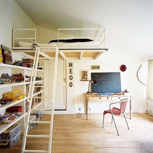 Lit mezzanine pour chambre d\'enfant | Mezzanine bois, Lits ...