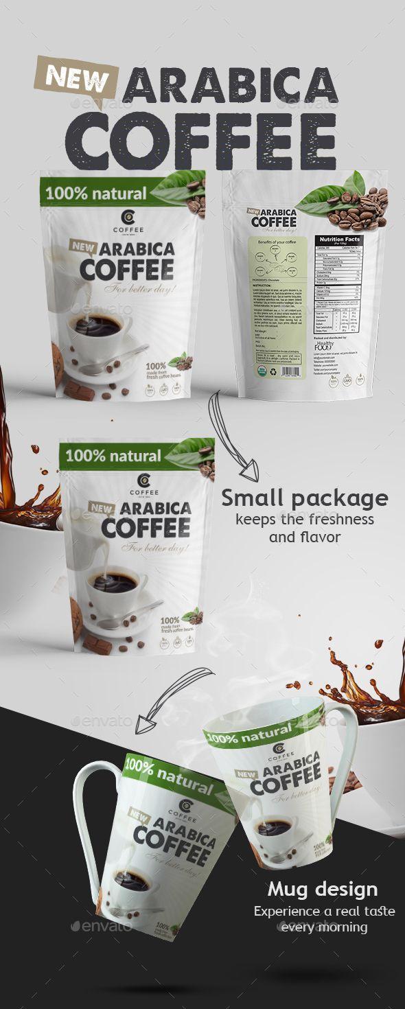 Arabica Coffee Packaging Design Vector Eps Foil Bag Vintage