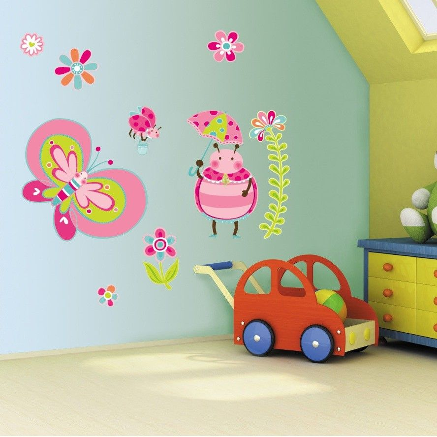 Bedroom wall decoration for kids - Blue Themed Cute Kids Wall Decor Ideas With Beautiful Butterfly Style Pink And Red Wall Sticker Decorating And Cute Beetle Wall Sticker Accessories For