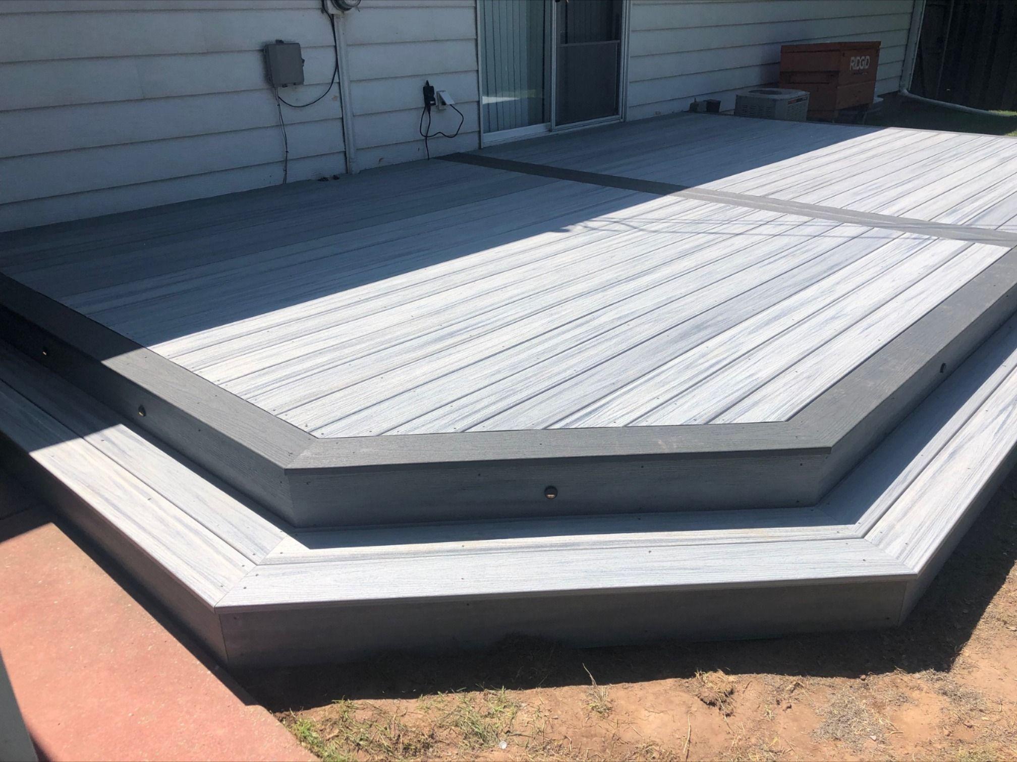 Trex Deck In Foggy Wharf Enhance And Pebble Gray Select Small Backyard Decks Trex Patio Deck Designs Backyard