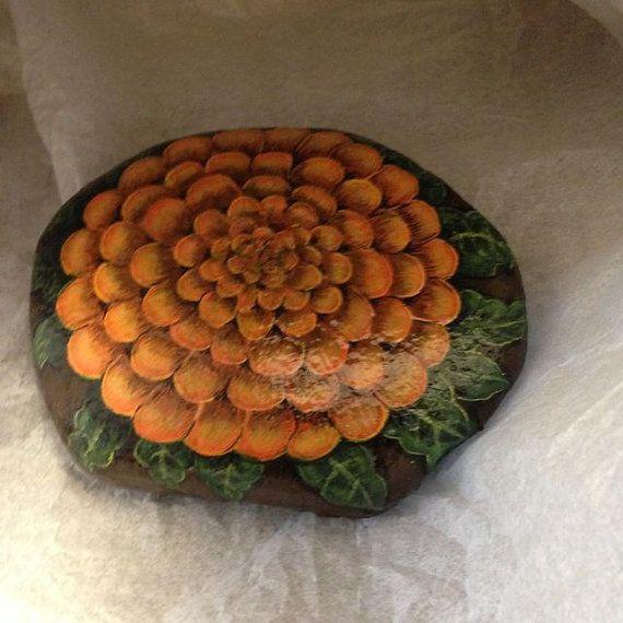 Hand+Painted+rock+of+orange+Mum+or+Marigold+bloom+by+gusismom,+$24.00