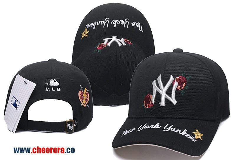 f55fadf7555 2018 New MLB New York Yankees Adjustable Snapback Hat in Black with Flower  Stitches