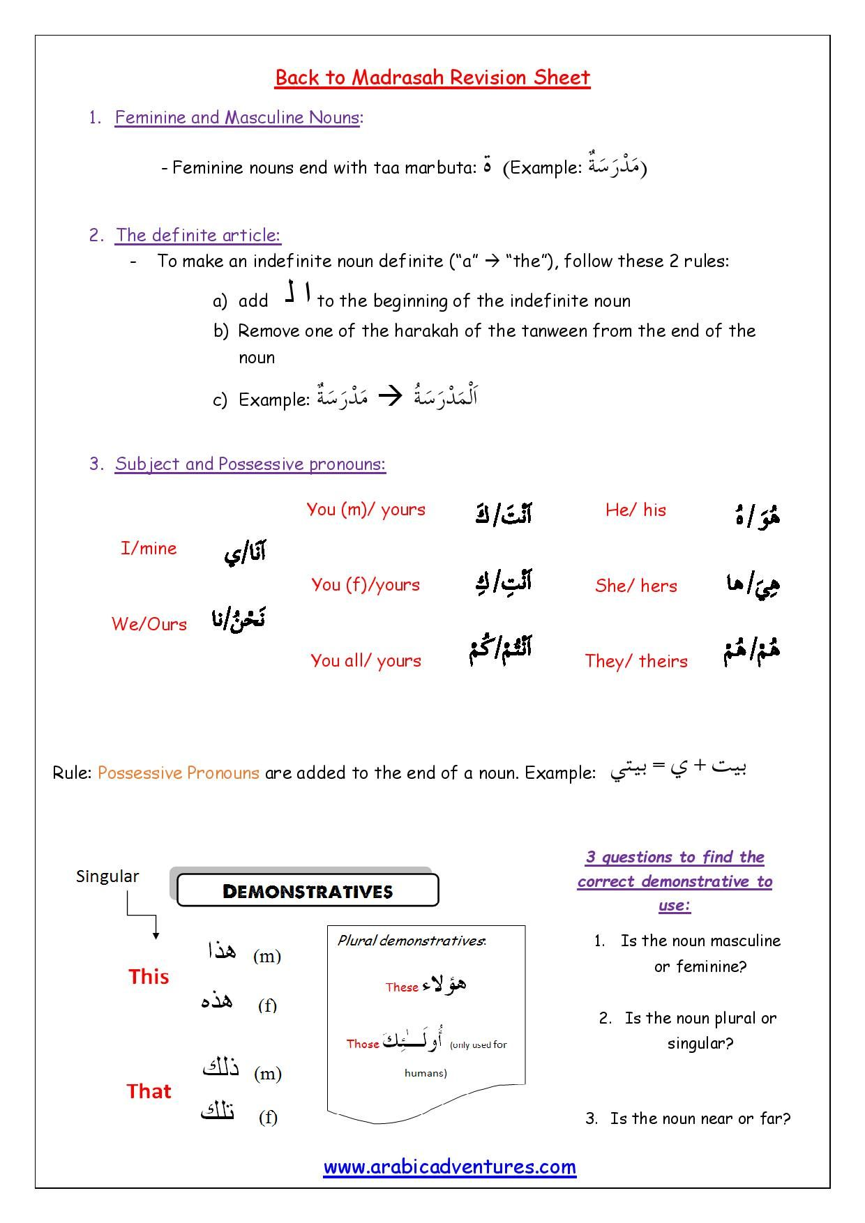 Back To Madrasah Arabic Grammar Revision Sheet
