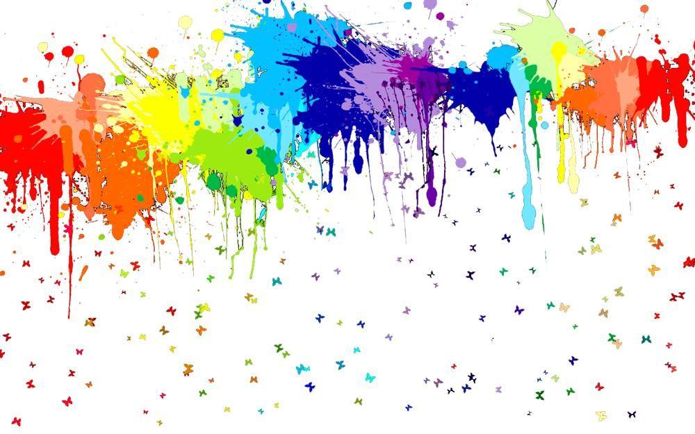 Rainbow Paint Splatter White Background 1000x625