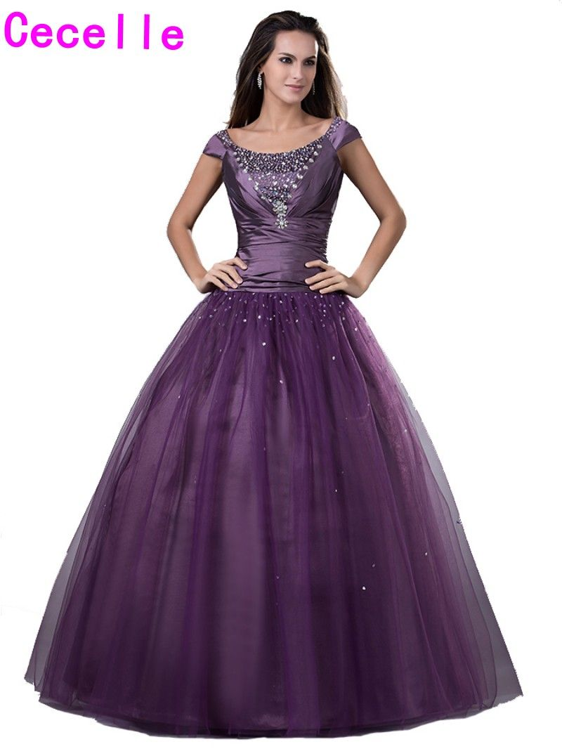 Click to buy ucuc purple ball gown long modest prom dresses with
