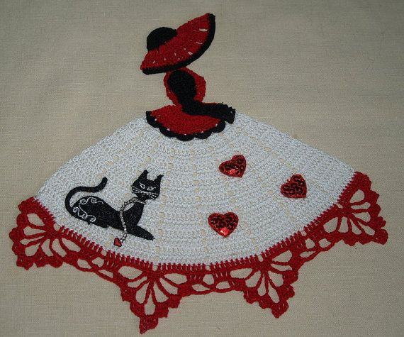 Hand Crochet Crinoline Girl Doily With Cat and Hearts on by vjf25 ...