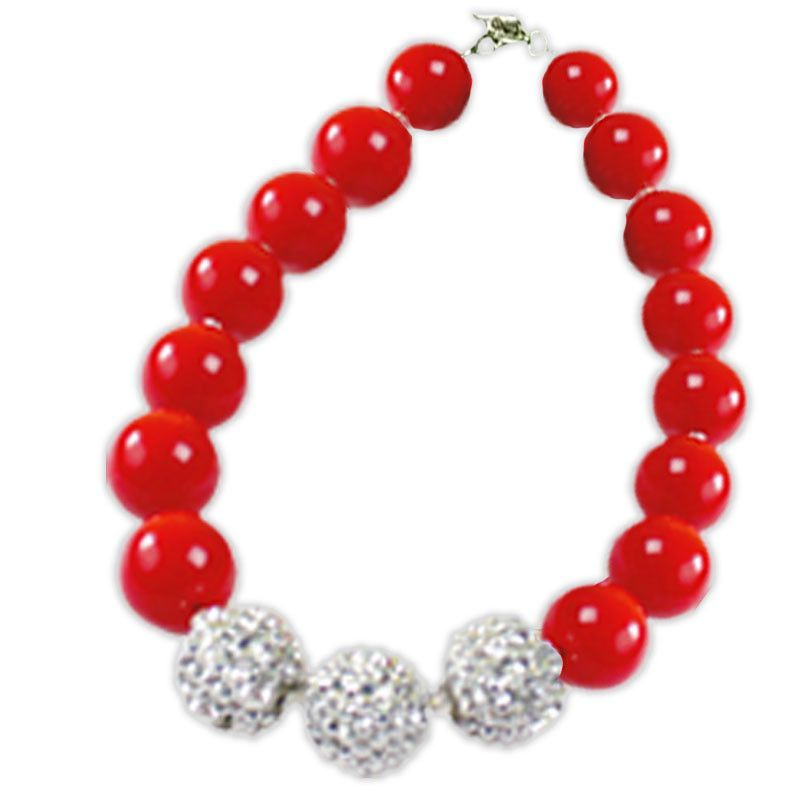 Red Silver Sparkle Gumball Necklace
