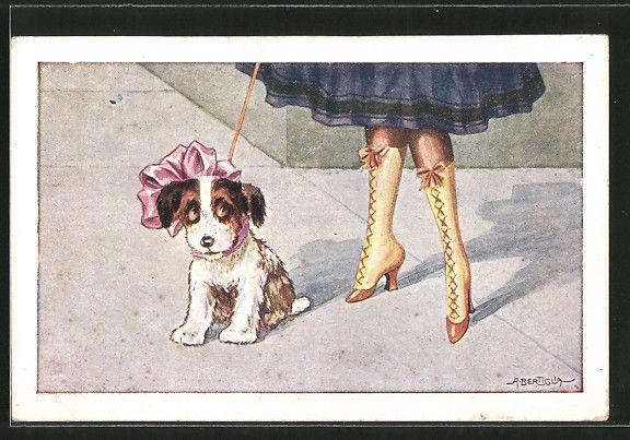 Künstler-AK A. Bertiglia: Kleiner Hund mit Schleife und Damenfüsse 0