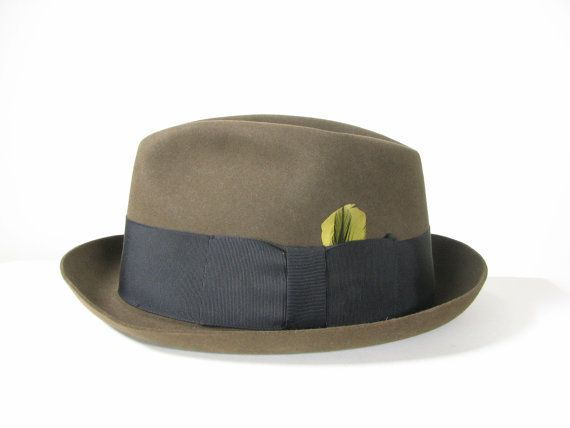 Mens 50s Green Gangster Fedora Hat by snootieseconds 8c7ff8416ac