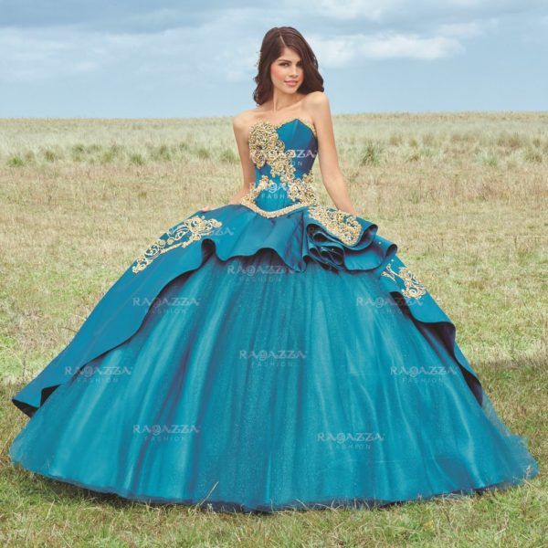fd3e3187c56 Teal and Gold Quinceanera Dress  Quinceanera  dress  ideas  gold  teal  blue