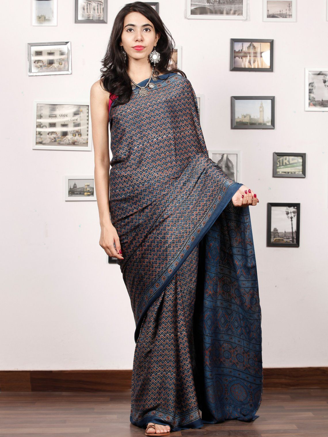 f349f33032256 Indigo Rust Black Ajrakh Hand Block Printed Modal Silk Saree in Natural  Colors - S031703380