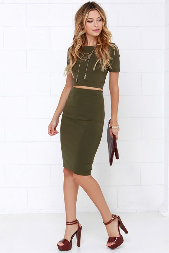 Clean Cut Out Olive Green Two Piece Dress At Lulus