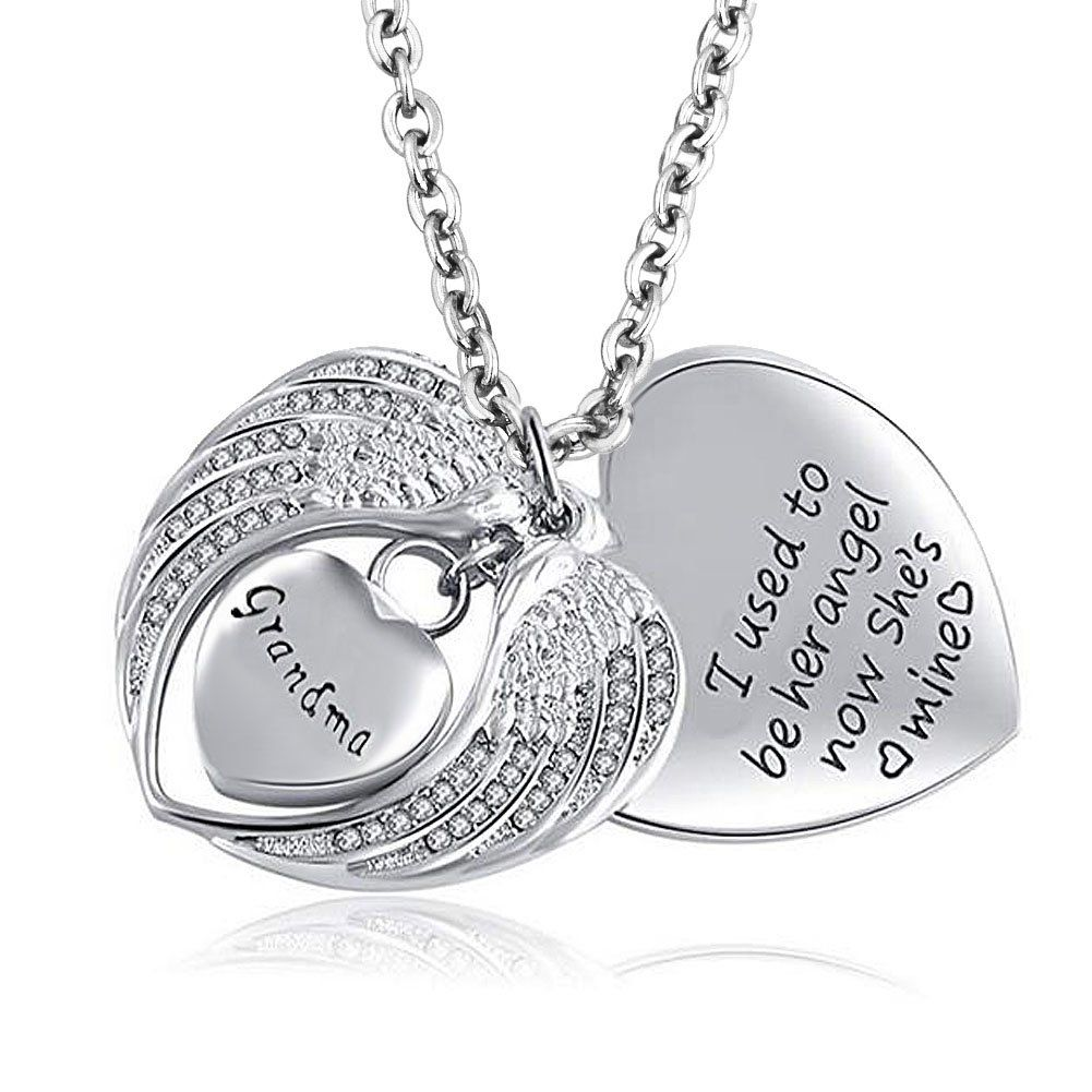 Stainless Steel Grandma Heart Shaped Cremation Urn Necklace Engravable Ashes Keepsake