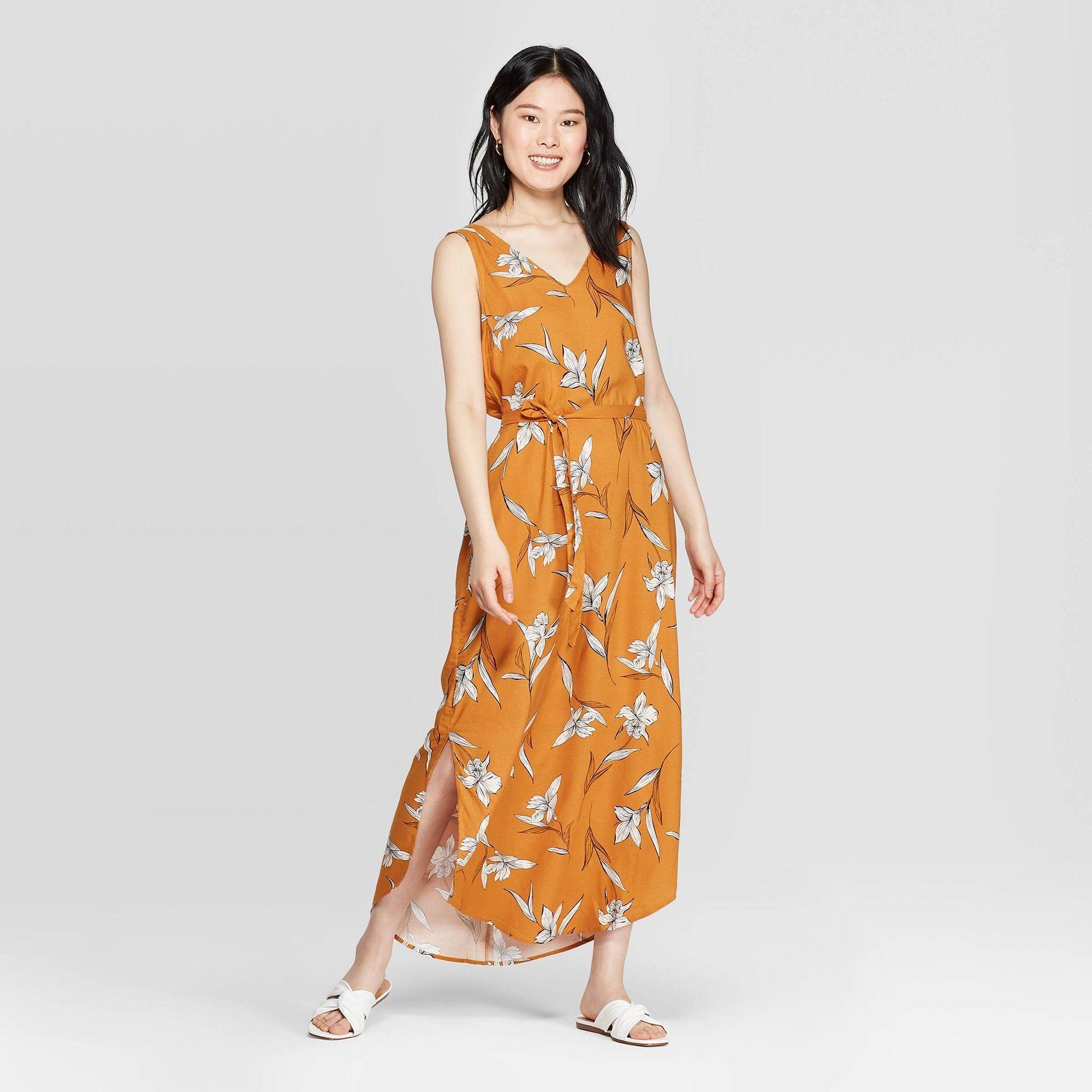 Women S Floral Print Sleeveless V Neck Maxi Dress A New Day Rust L Red Maxi Dress V Neck Midi Dress Womens Maxi Dresses [ 2000 x 2000 Pixel ]