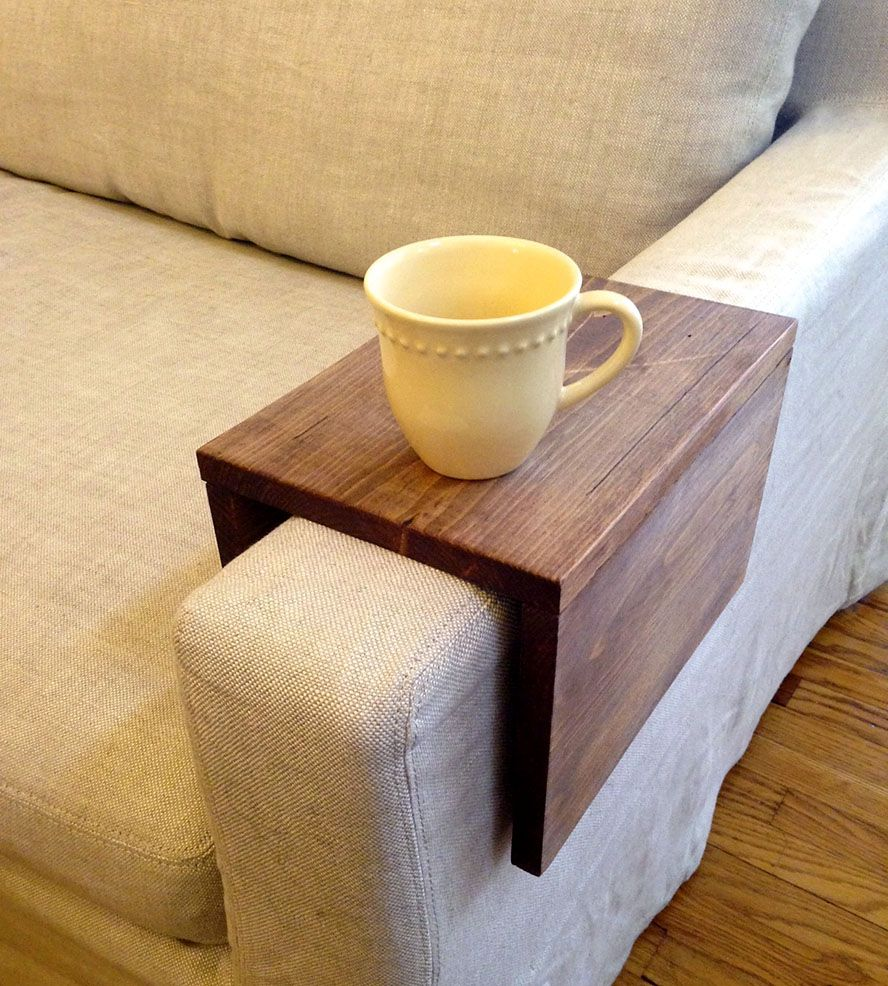 Reclaimed wood couch arm table. It's so simple, but so genius.