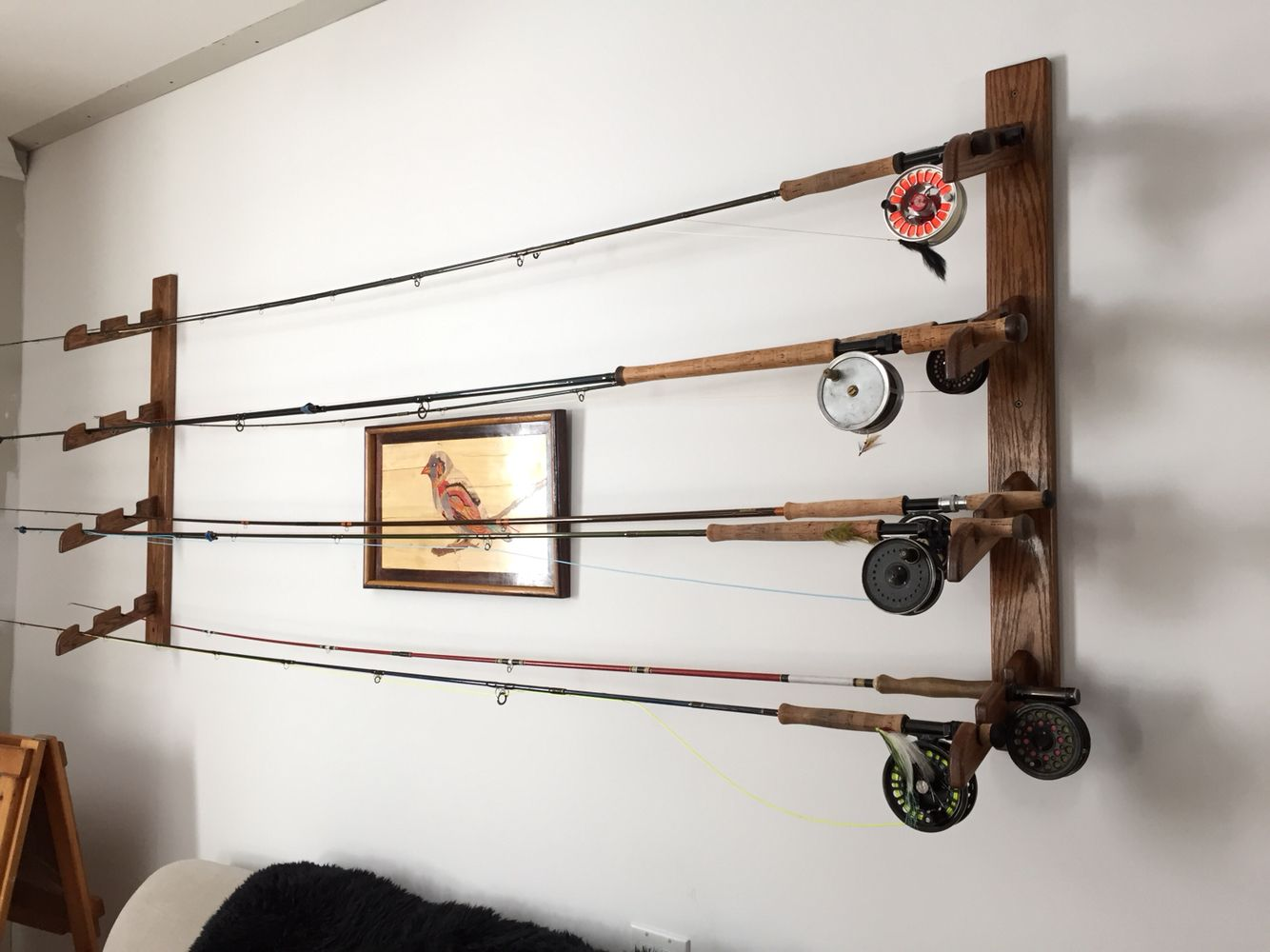 Wood fly rod rack display holder wall fishing rods for Fishing rod rack