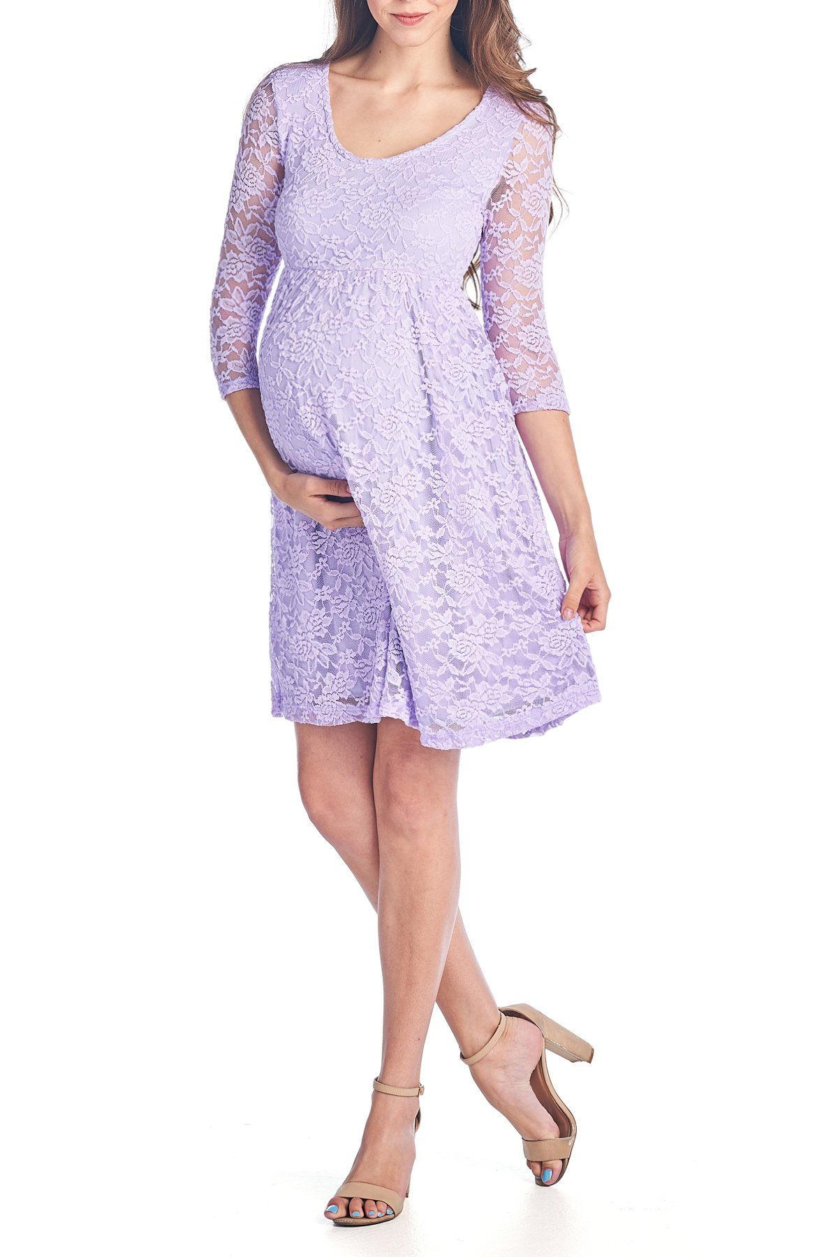 edc5b535f1 Maternity Fashion - clingy maternity maxi dress   Beachcoco Womens Maternity  3 4 Sleeve Knee Length Lace Dress L Lavender -- Continue to the item at the  ...