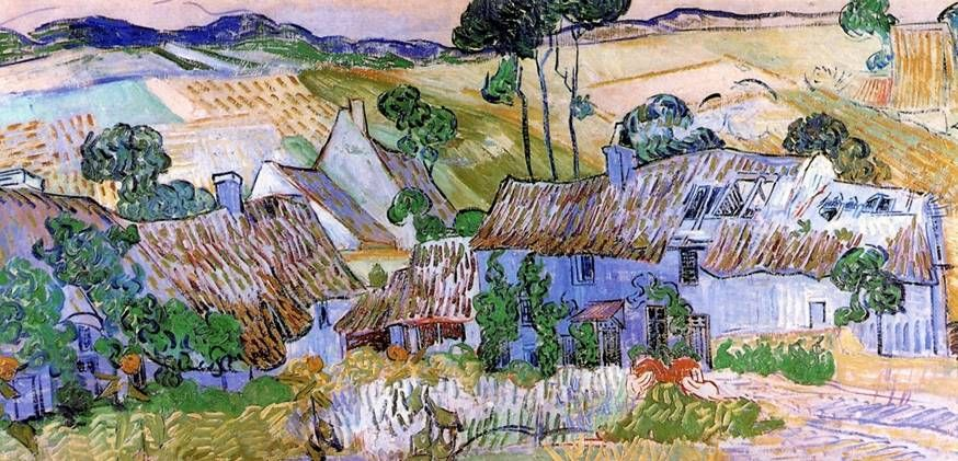 Thatched Cottages By A Hill With Images Vincent Van Gogh