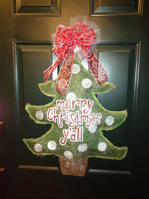 How To Paint Burlap Door Hangers Painted Hanger Christmas Tree Is Coming