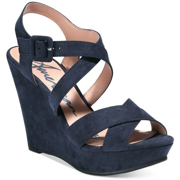 American Rag Rachey Platform Wedge Sandals 60 Liked On Polyvore Featuring Shoes Sandals N Blue Wedge Shoes Wedding Shoes Wedge Blue Wedge Wedding Shoes