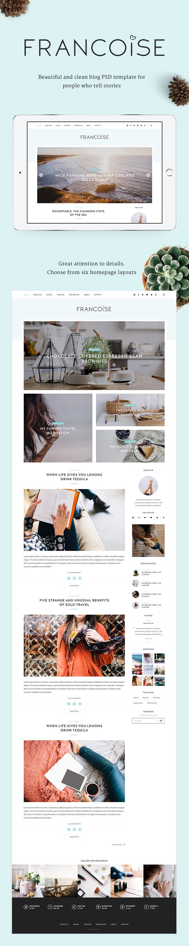 Francoise - Blog PSD Template | Psd templates, Template and Typo