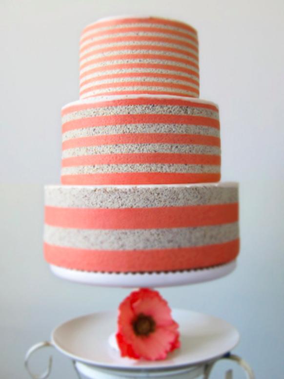 Coral And White Wedding Cake By MRobin Cakes Vanilla Sponge Raspberry Conserve