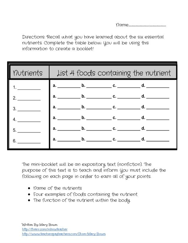 The Six Essential Nutrients Lesson Plan And Worksheet  Facs