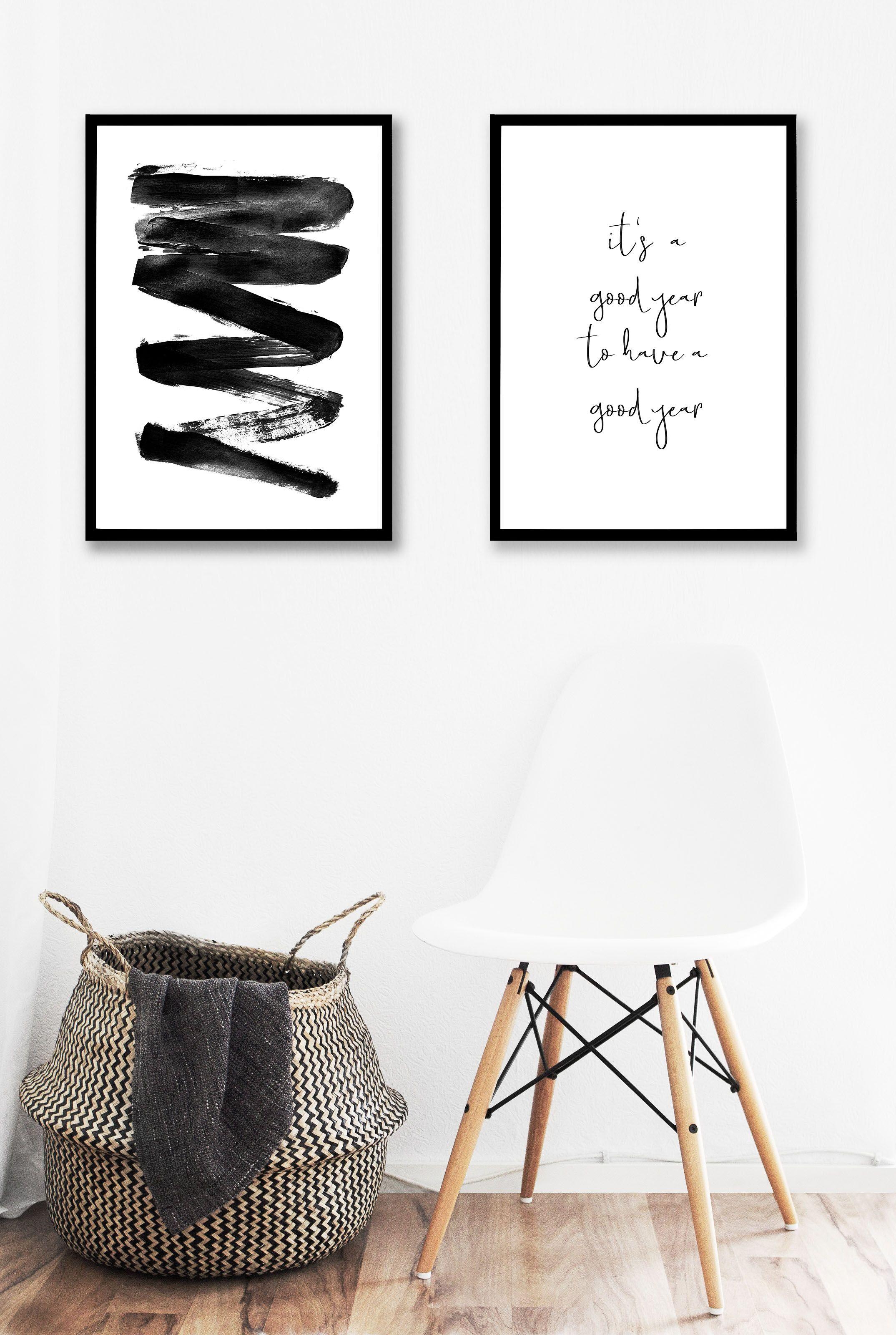 Elegant Abstraktes Poster Schwarzweiß Plakat Kunst Wand Download  Minimalistisch Abstrakt Handgemalt Schwarz Und Weiß Abstrakte Linien