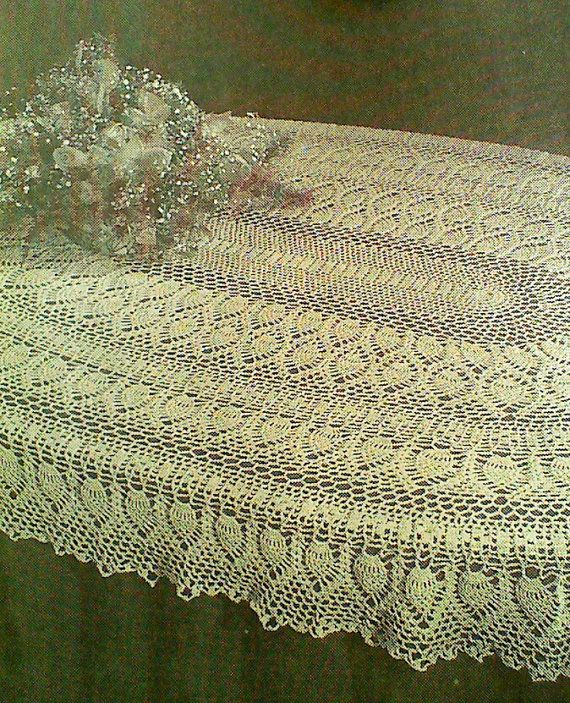 Vintage Crocheted Oval Pineapple Tablecloth by MAMASPATTERNS ...
