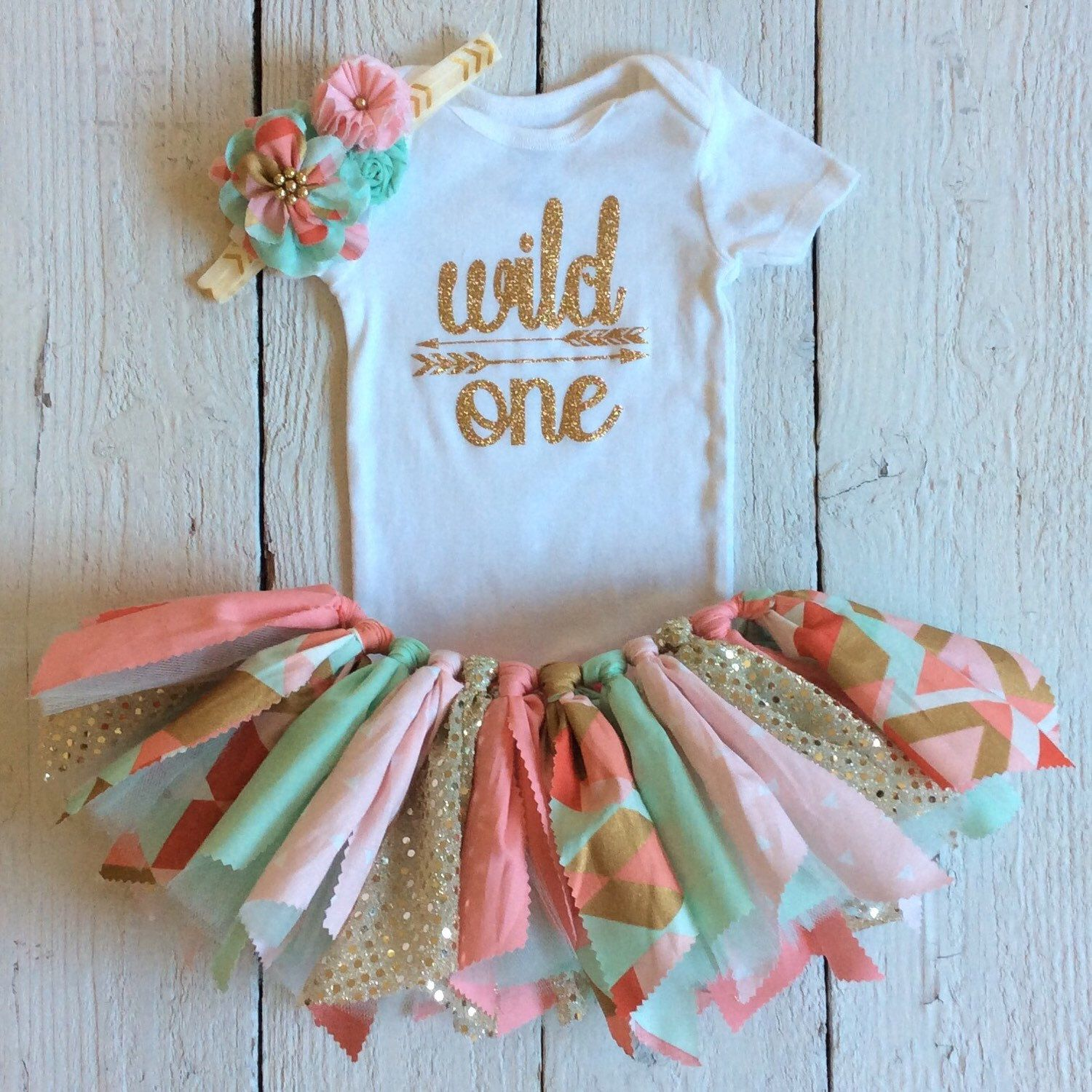 First Birthday Party In A Box In Gold Mint And Pink: Pink Mint Coral First Birthday,coral Mint Tutu,mint Coral