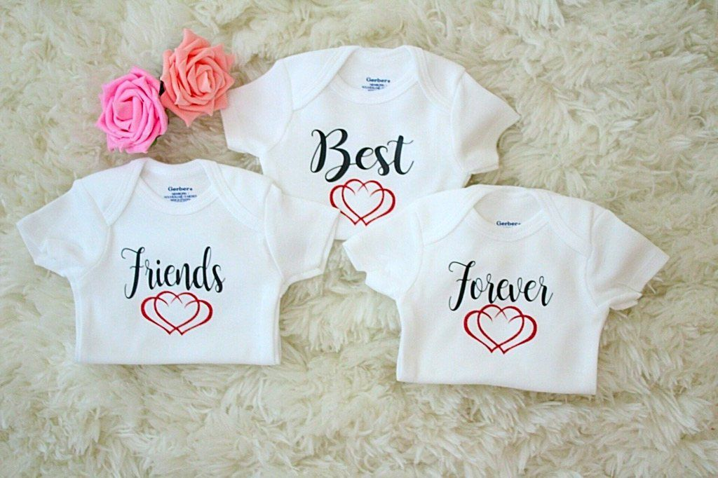 7e05d6a6a488 Best Friends Forever Triplet Onesies //Triplet Baby Onesie // Funny Baby  shirt // Funny Triplet Baby Onesie // Triplet Onesie Set