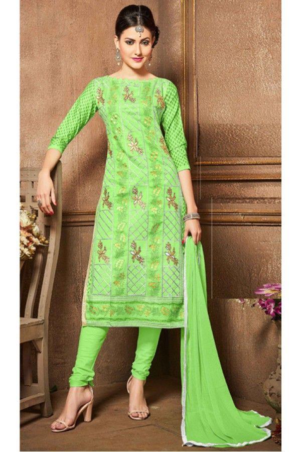 Office Wear Green Glaze Cotton Salwar Suit - 18617