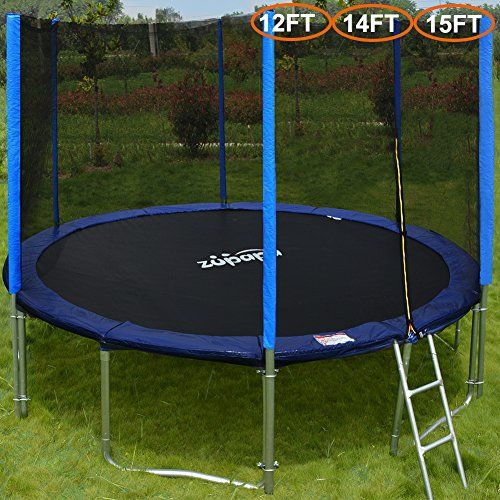 Zupapa 15 14 12 Ft Tuv Approved Trampoline With Enclosure Net And Pole Safety Pad Ladder Jumping Backyard Trampoline Best Trampoline Trampoline Enclosure