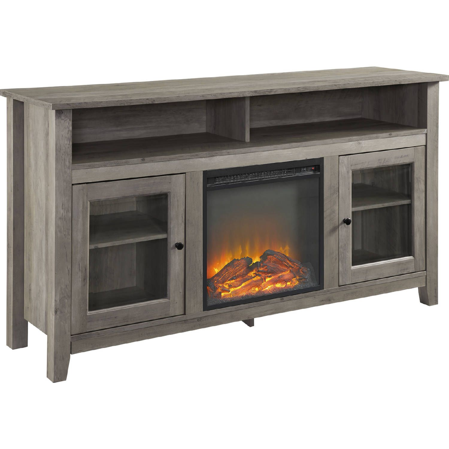 Walker Edison 58 Quot Transitional Fireplace Glass Wood Tv Stand