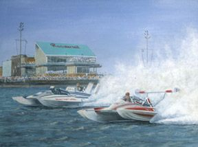 """Hydroplanes at the """"Roostertail Turn"""", named for the world-famous supper club, shown here"""