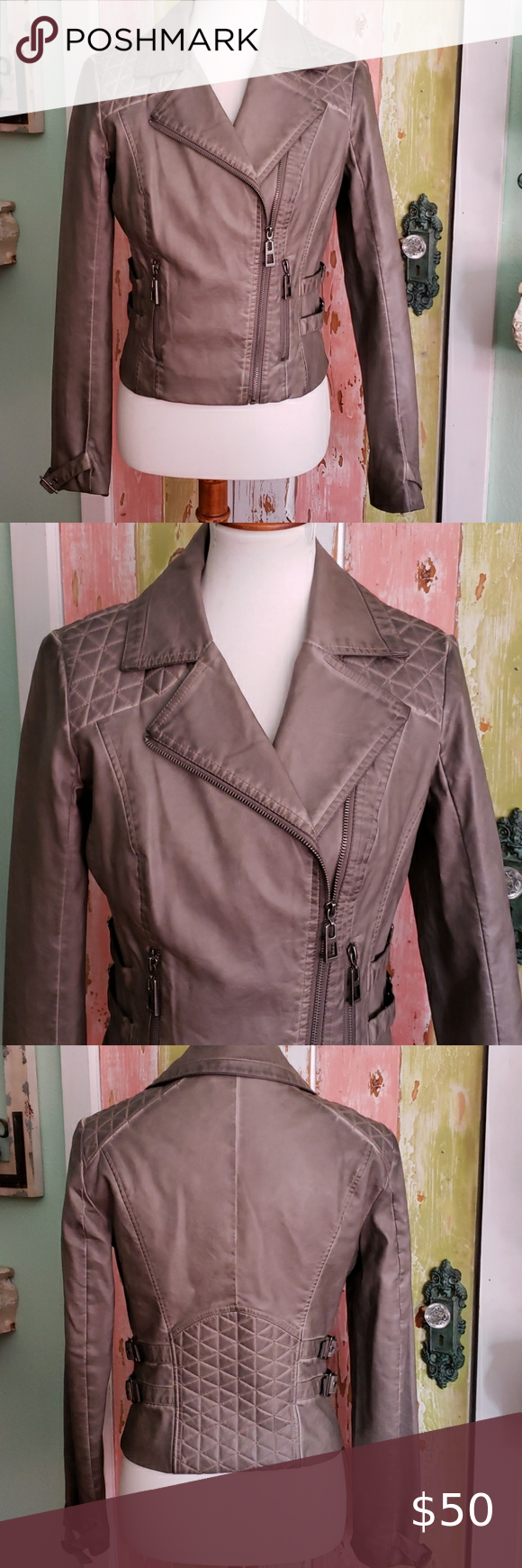 Grey quilted leather biker jacket medium In excellent like-new condition! This i...#biker #condition #excellent #grey #jacket #leather #likenew #medium #quilted