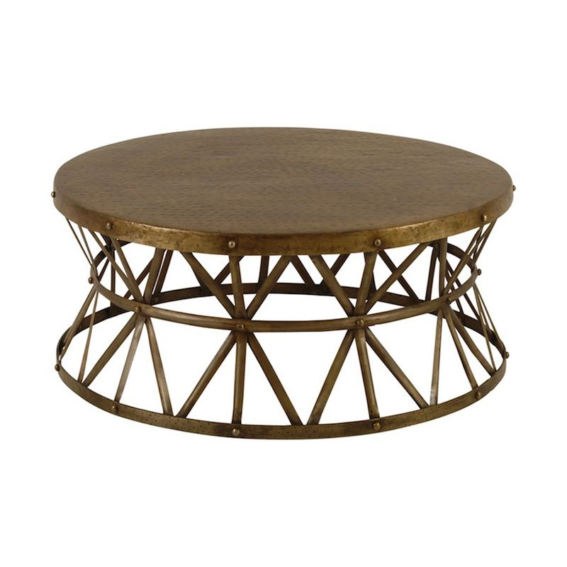 Harrington Coffee Table at Found Vintage Rentals. Distressed gold metal coffee table