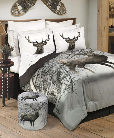 Another Great Find On Zulily Deer In Snowy Forest Wildlife Comforter Set Zulilyfinds Deer Bedroom Decor Bed Comforter Sets Comforter Sets