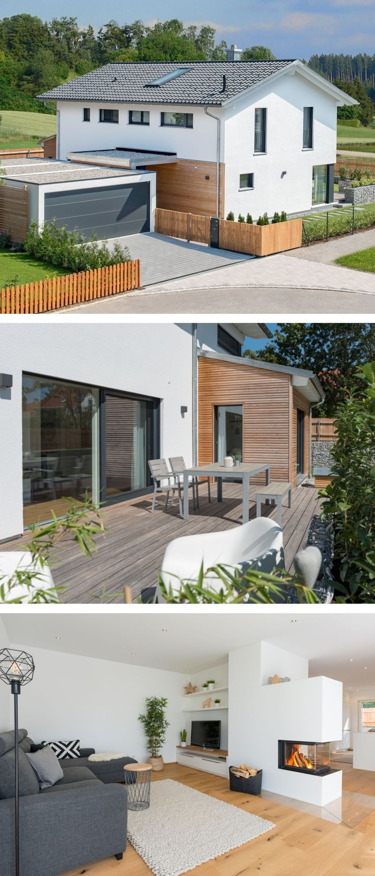 Modern detached house with garage, wood facade & saddle ...
